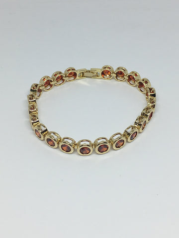 Round Bezel Diamond Crystal Bracelet- Ruby Gold