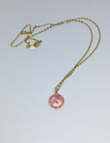 Fendi Crystal Pink Pendant Necklace