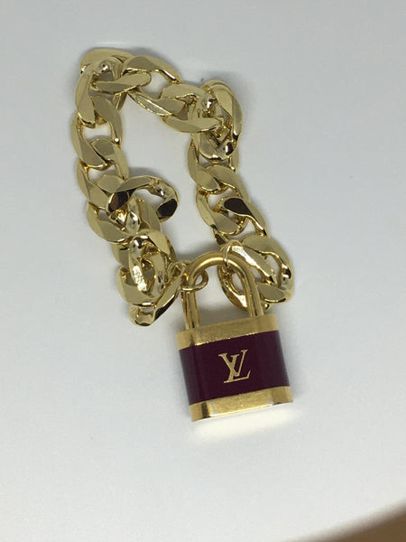Louis Vuitton Large Burgundy Lock Necklace