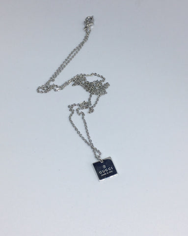 Gucci Silver Mini Square Pendant Necklace
