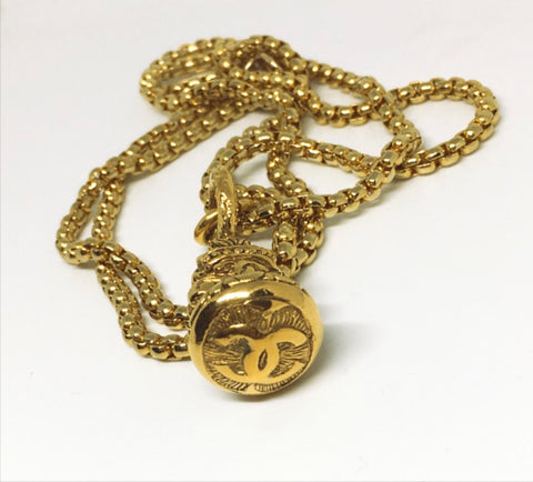 Chanel Gold Tribal Doorknocker Necklace