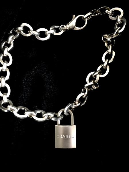 Chanel Silver Lock Necklace