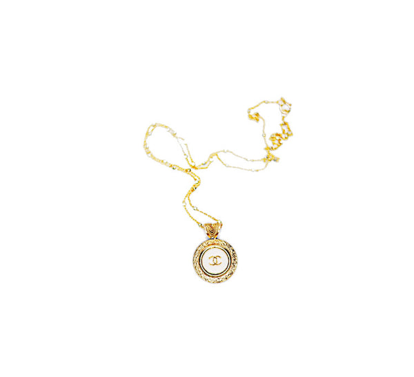 Chanel White and Gold Pendant Necklace