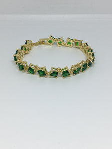 Princess Cut Diamond Crystal Bracelet- Emerald Gold
