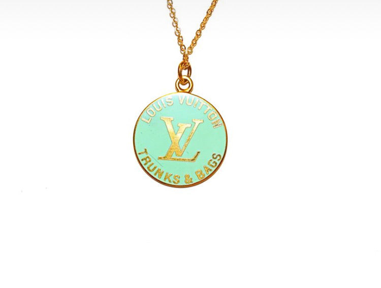 Louis Vuitton Sea Foam Green Trunks And Bags Necklace