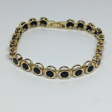 Round Bezel Diamond Crystal Bracelet- Black Gold