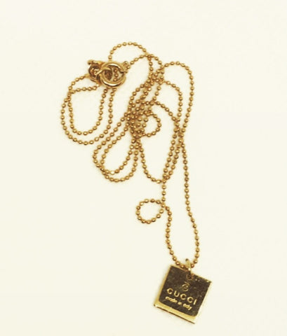 Gucci Gold Mini Square Pendant Necklace