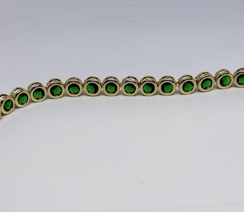 Round Bezel Diamond Crystal Bracelet- Emerald Gold