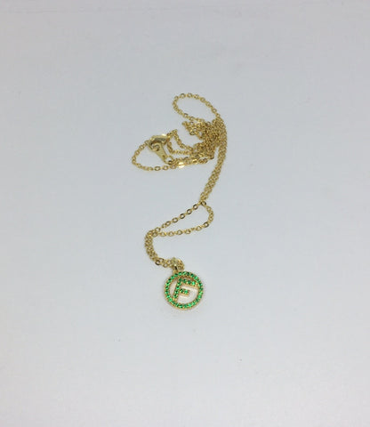 Fendi Crystal Green Pendant Necklace