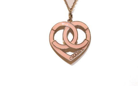 Chanel Pink and Silver Heart Necklace
