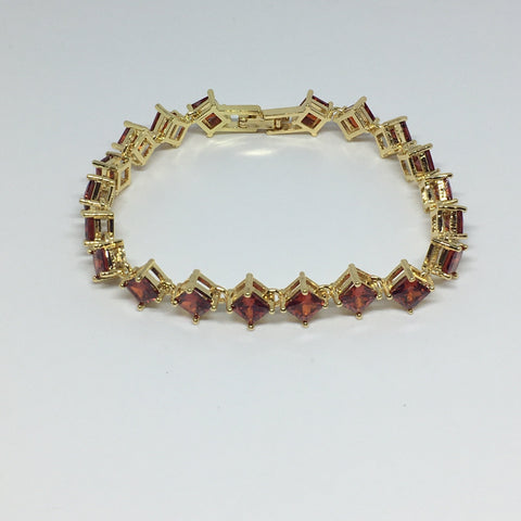 Princess Cut Diamond Crystal Bracelet- Garnet Gold