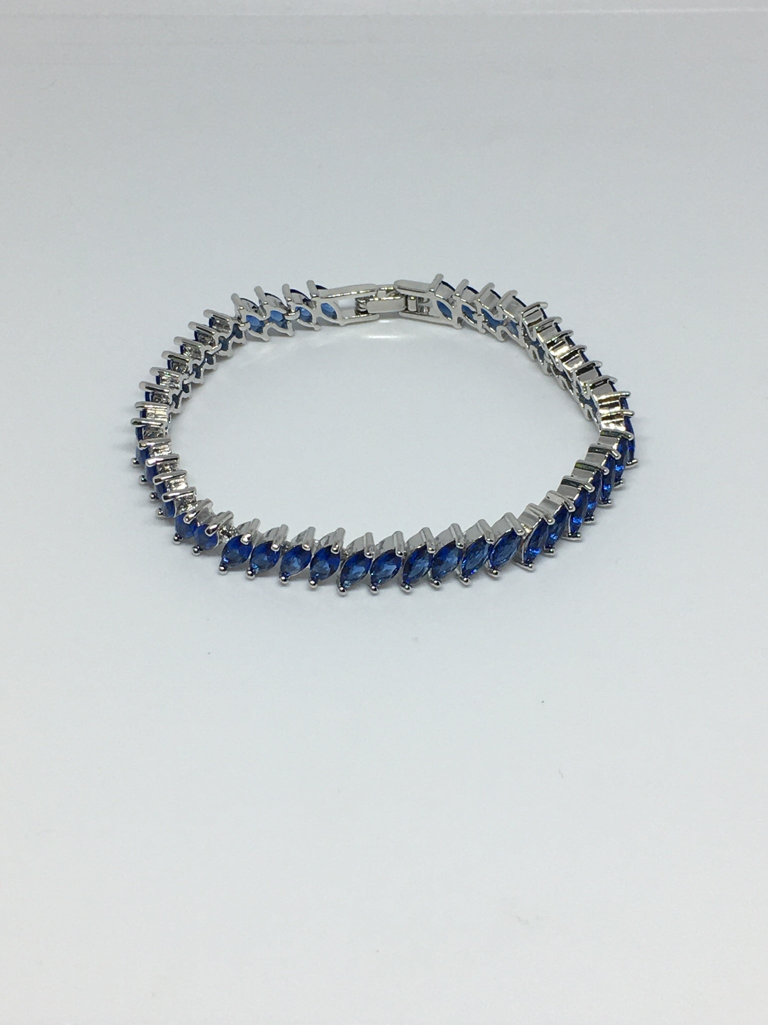 Marquise Diamond Crystal Bracelet- Sapphire Silver