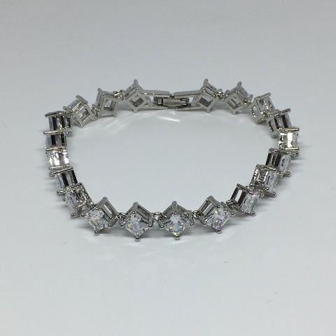 Princess Cut Diamond Crystal Bracelet- Clear Silver