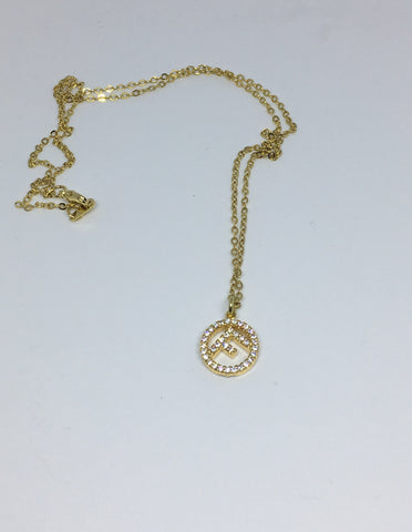 Fendi Crystal Clear Pendant Necklace