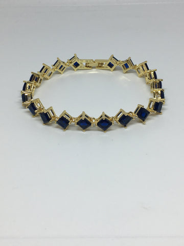 Princess Cut Diamond Crystal Bracelet- Sapphire Gold