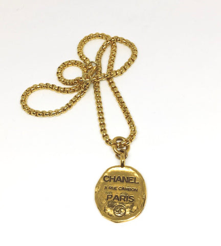Chanel Gold Oval Tag Necklace