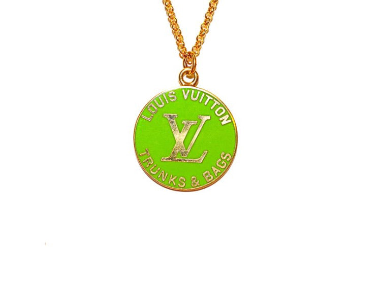 Louis Vuitton Lime Green Trunks And Bags Necklace