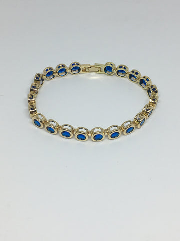 Round Bezel Diamond Crystal Bracelet- Light Sapphire Gold