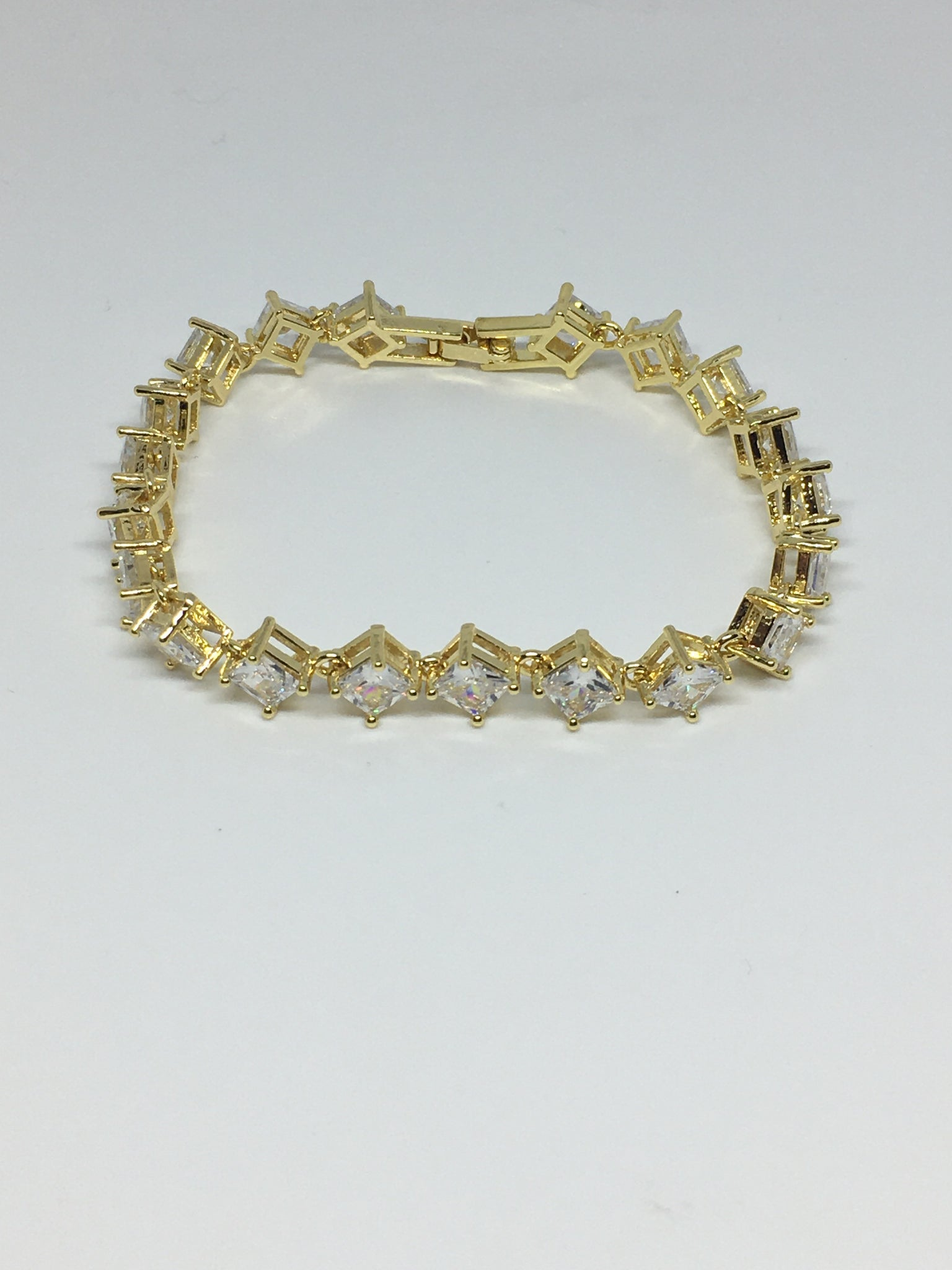 Princess Cut Diamond Crystal Bracelet- Clear Gold