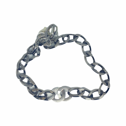 Chanel Double CC Silver Chain Choker