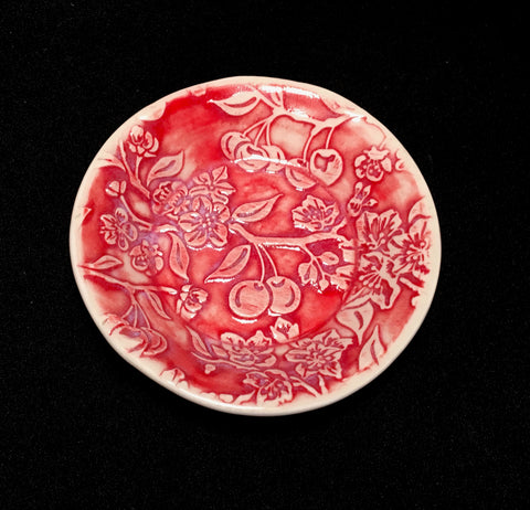 Red Cherry Blossom Plate