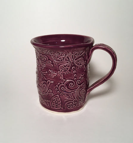 Wine Colored Butterfly Mug