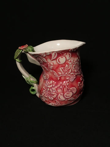 Red Cherry Blossom Pitcher