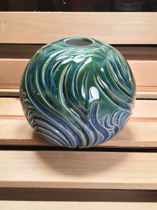 Carved Sphere, Green & Blue