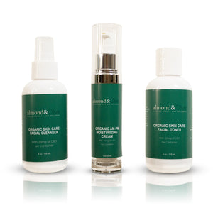 Open image in slideshow, The Almond & Olive  3 in 1 Bundle (Cleanser, Toner, Moisturizer)