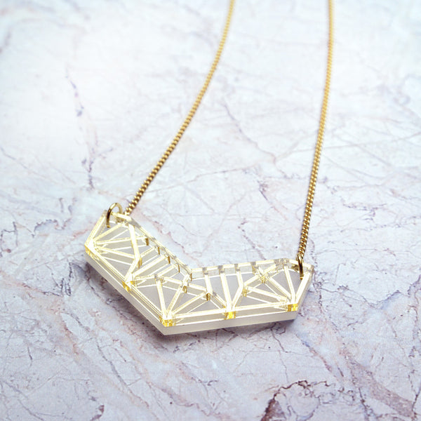 Gold acrylic Icos Chevron Necklace