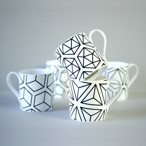 Set of five Platonic Solids mugs