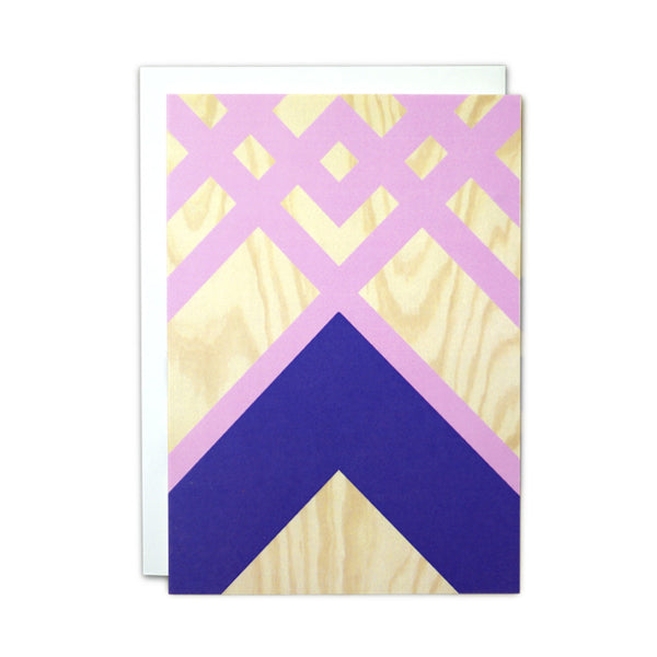 Plywood (pink and blue) card