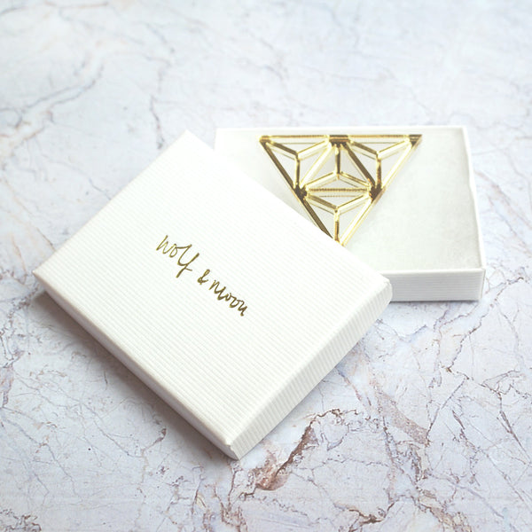 Gold geometric Tetra Brooch