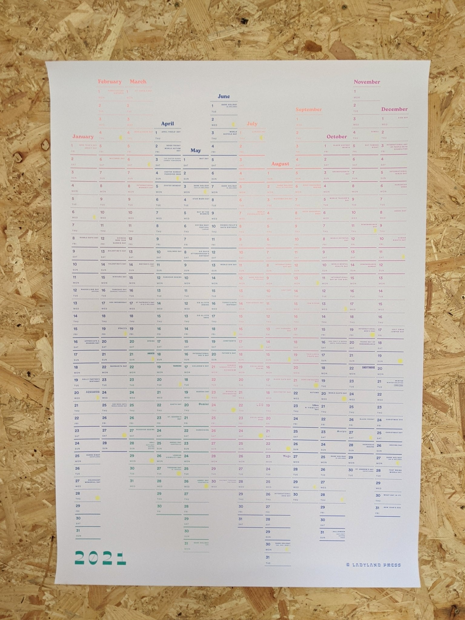 2021 Ladyland A1 wall planner - The Stationery Cupboard
