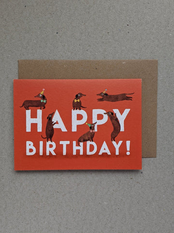 Birthday Sausage Dogs greetings card - The Stationery Cupboard