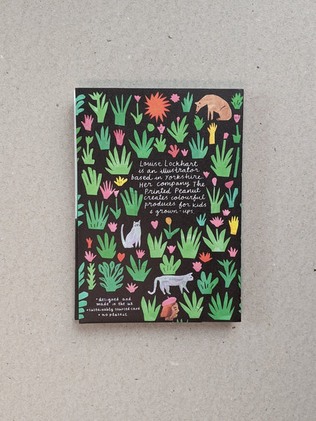 Collage notecard pack of 6, black, by Printed Peanut - The Stationery Cupboard