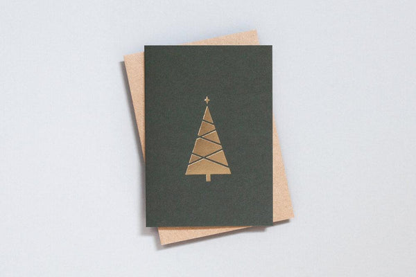 Foil Blocked Christmas Greeting Cards, Set of 6, Brass Tree - The Stationery Cupboard