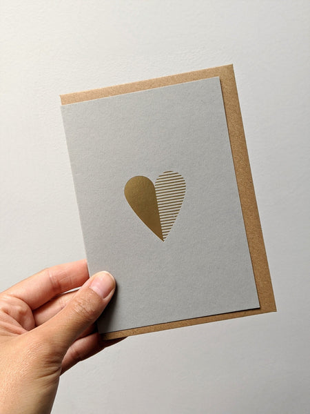 Foil blocked heart card - The Stationery Cupboard