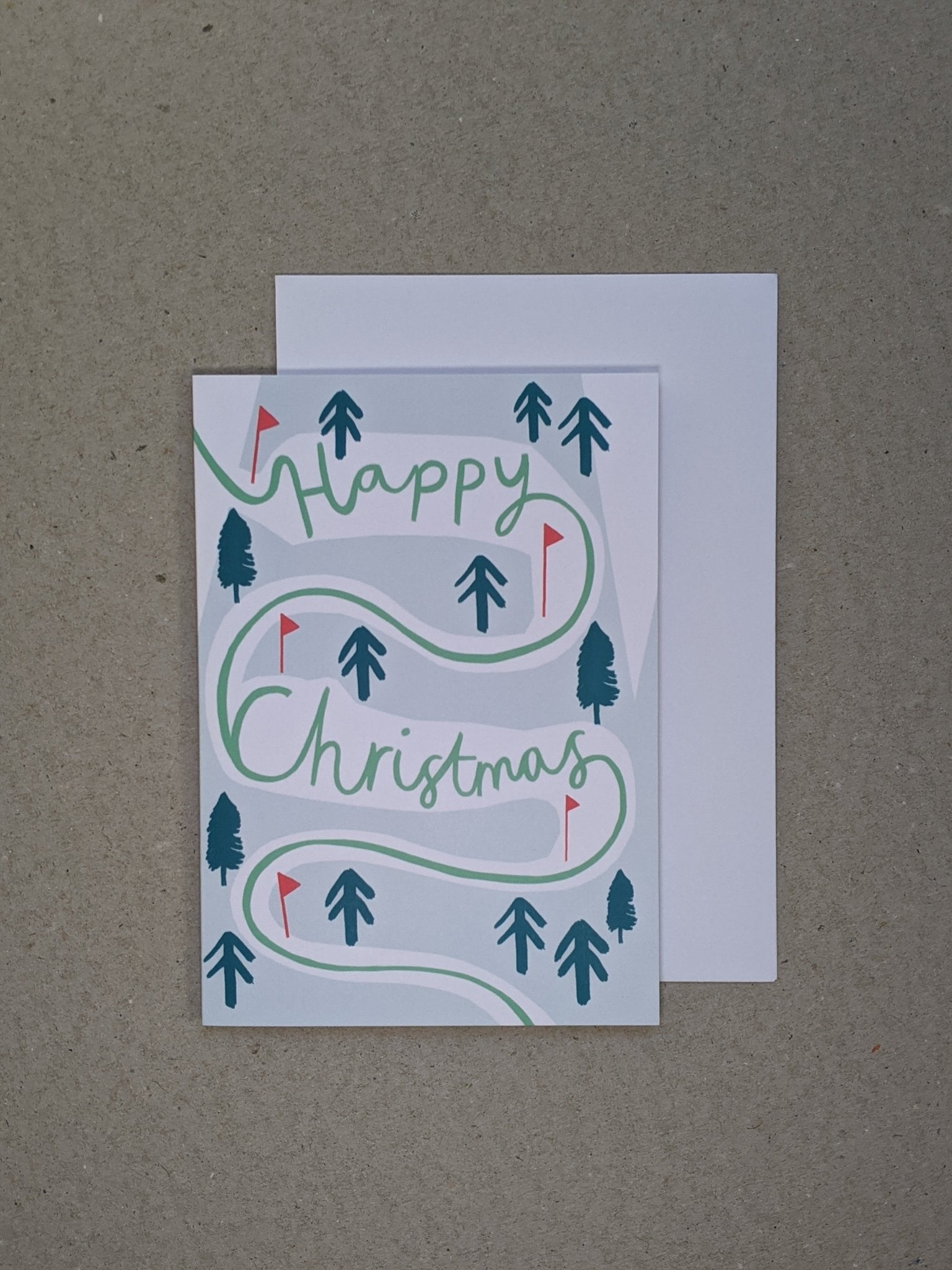 Happy Christmas Slalom Greetings Card - The Stationery Cupboard