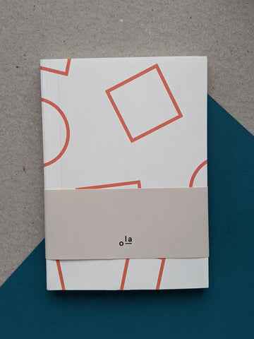 Layflat blank pocket notebook - shapes print - orange - The Stationery Cupboard