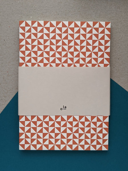 Layflat ruled notebook - Kaffe print - brick red - The Stationery Cupboard