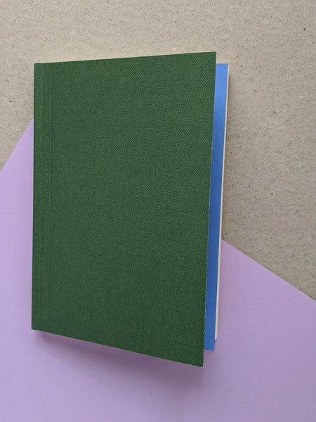 Layflat weekly pocket planner- green / blue - The Stationery Cupboard