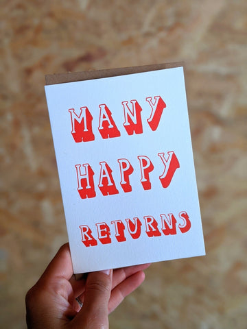 'Many happy returns' birthday card - The Stationery Cupboard