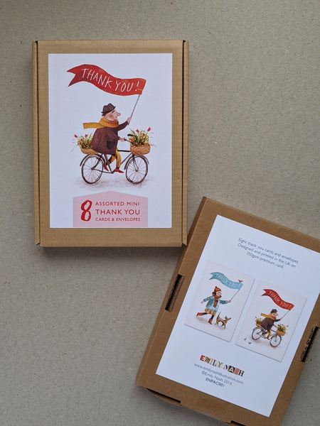 Mini Thankyou Bicycle Multipack greeting cards - The Stationery Cupboard