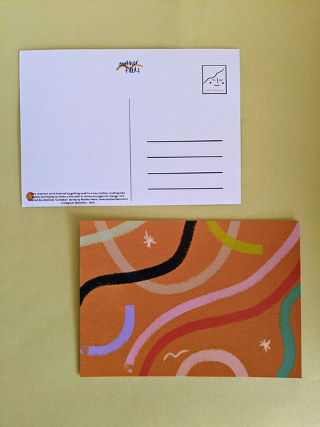 'New rhythms' postcard - The Stationery Cupboard