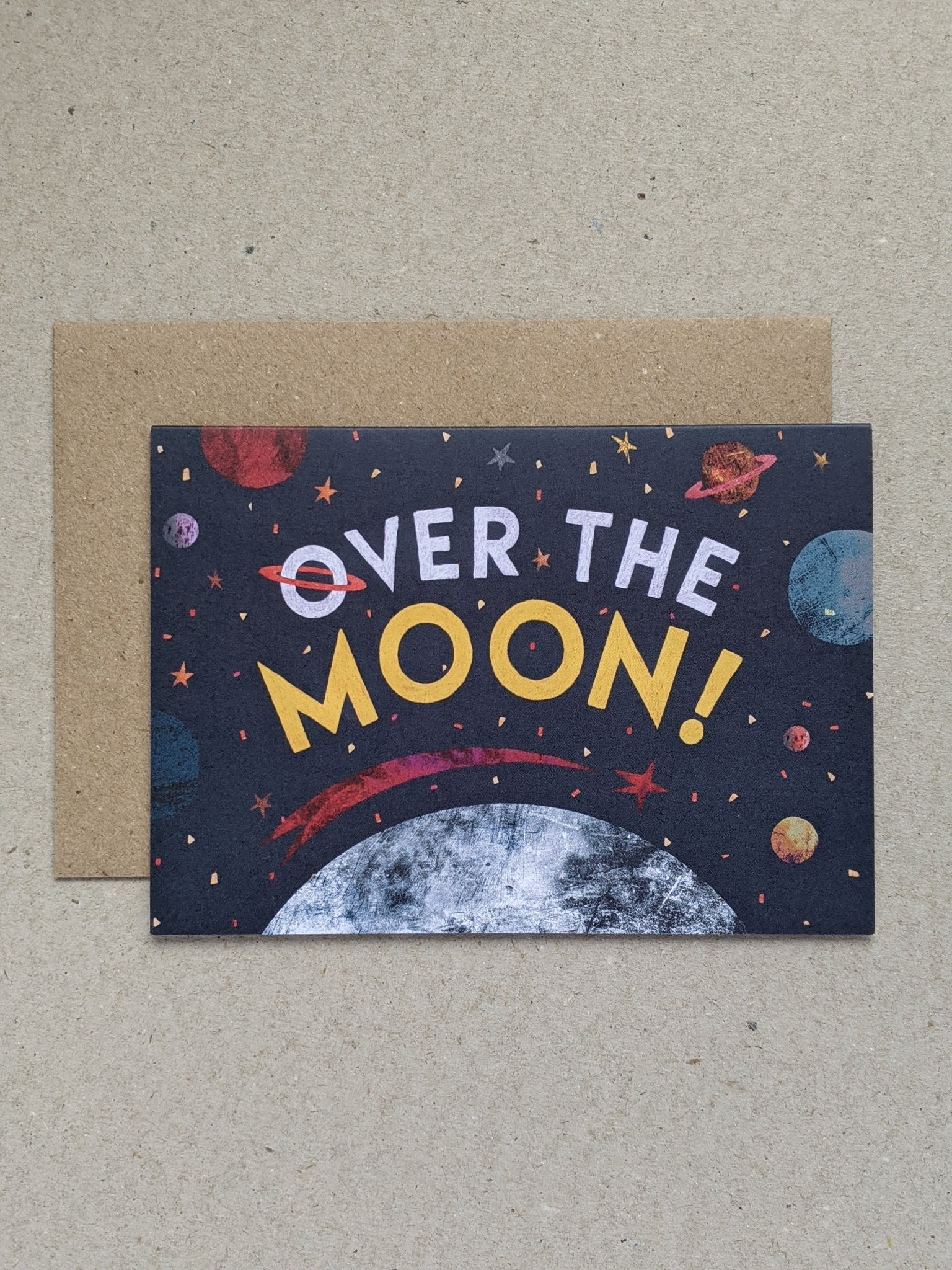 Over The Moon celebration greetings card - The Stationery Cupboard