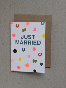 Risograph Just Married greeting card - The Stationery Cupboard