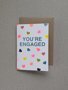 Risograph You're Engaged greeting card - The Stationery Cupboard