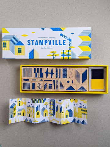 Stampville, 25 stamps and 2 ink pads - The Stationery Cupboard