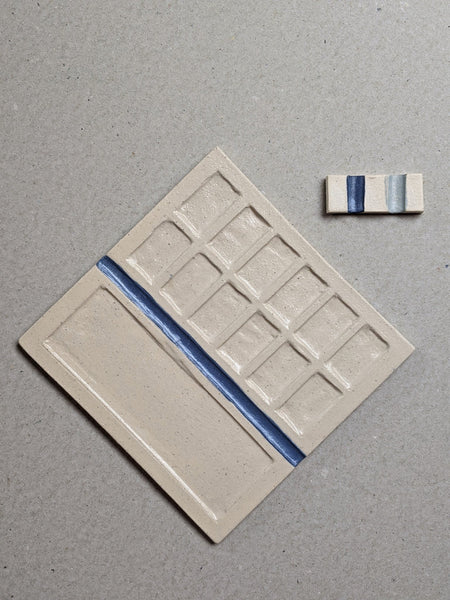 Stoneware paint palette - blue - The Stationery Cupboard